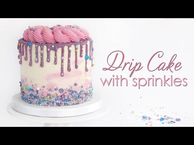 Chocolate ganache Drip Cake - with sprinkles and buttercream rosettes