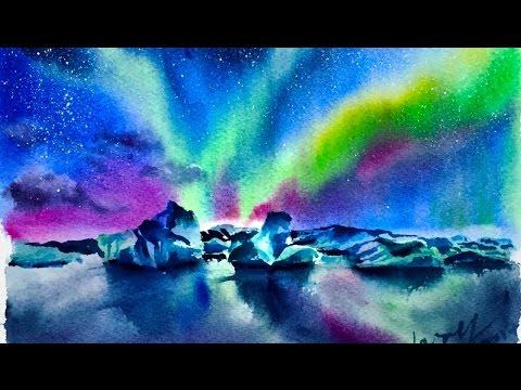 Watercolor Aurora Glacier Demonstration