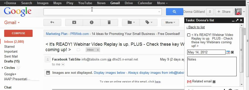 Gmail Tips How to Add An Email To A Google Task List - YouTube