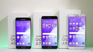 samsung galaxy a5 a7 a9 2016 triple unboxing hands on