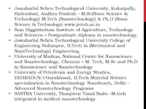 Nanotechnology Universities List in India Colleges