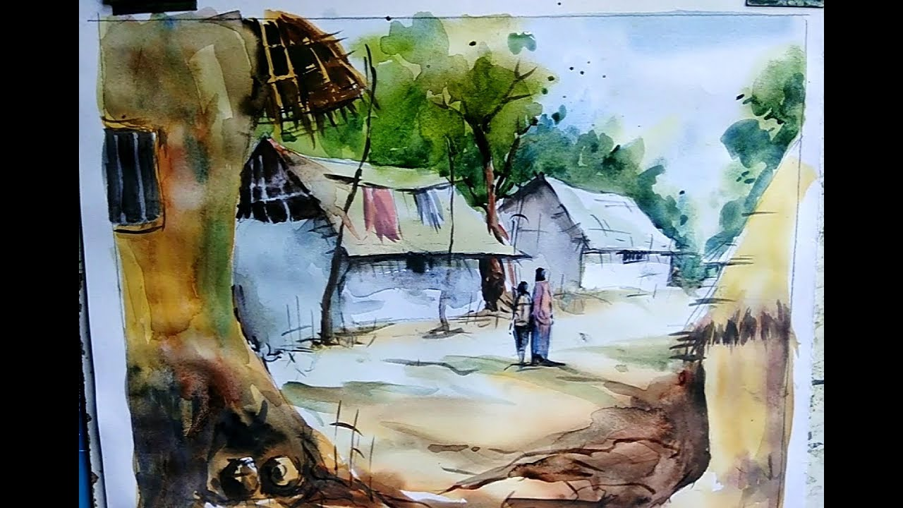 How to paint a water cooler village drawing with house and figure landscape drawing