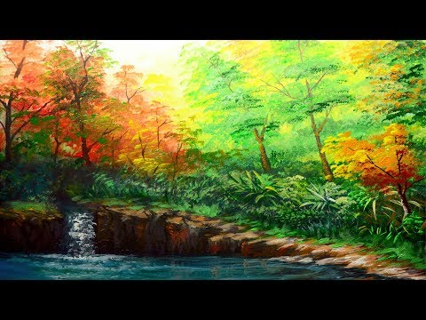 Basic Landscape Painting Tutorial with Forest and Autumn Trees | ACRYLIC ART LESSON for BEGINNERS