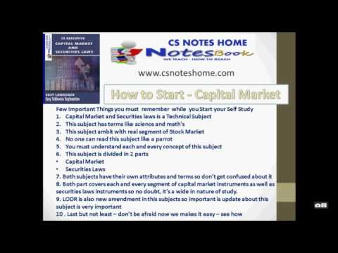best self study Tips how to pass in capital market and securities laws book notes for cs executive