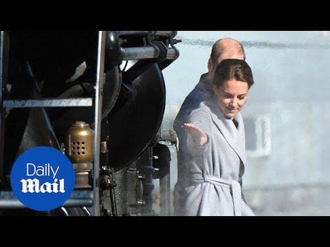 Will and Kate tiptoe off railroad bridge in Canda's Yukon Territory - Daily Mail