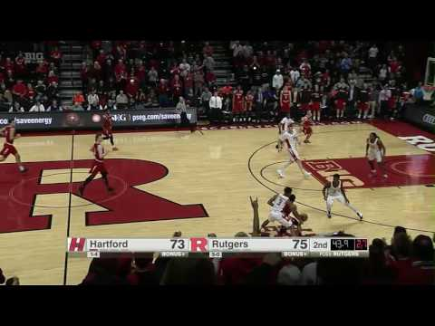 Exciting Finish as Rutgers Beats Hartford, 77-75