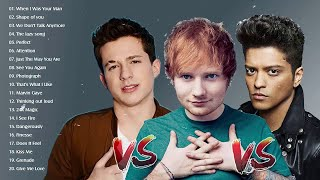 Bruno Mars, Charlie Puth, Ed Sheeran Greatest Hits Playlist - Best Pop Collection Songs 2019