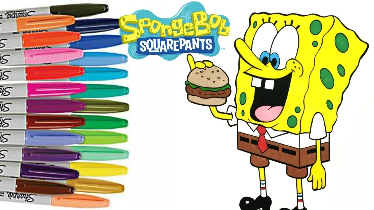 SpongeBob SquarePants Coloring Book Page How to Color for Kids - YouTube