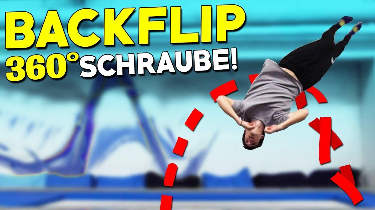 Backfull / Rückwärtsalto mit Schraube Lernen! - Trampolin Backflip Twist Tutorial!