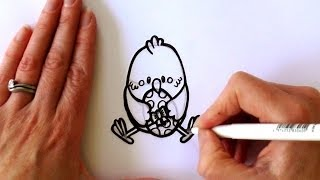 How to Draw a Cartoon Easter Chick Holding an Easter Egg