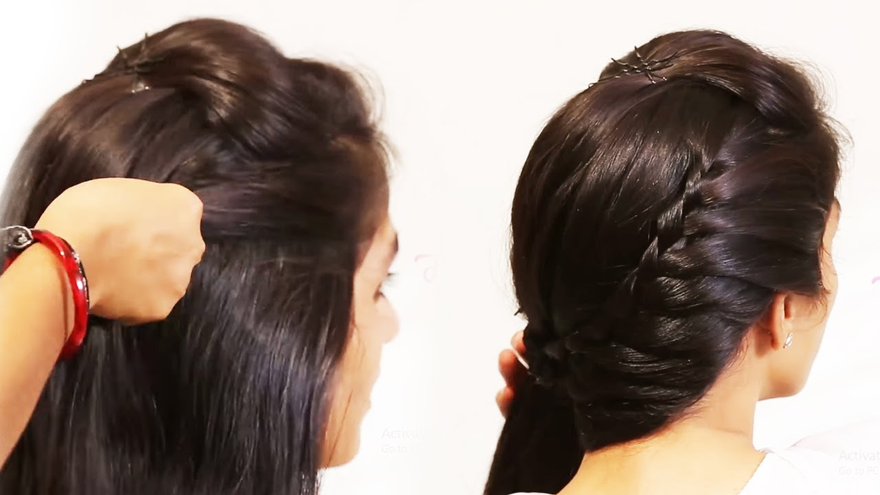 Simple Beautiful Hairstyles   Side Puff With Trick and Ponytail Hairstyle - YouTube