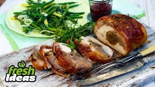 Turducken Recipe with Asparagus, Green Beans and Globe Onions
