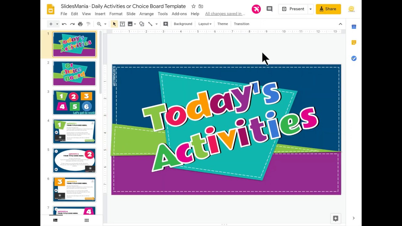 Daily Activities Or Choice Board Template Slidesmania Youtube