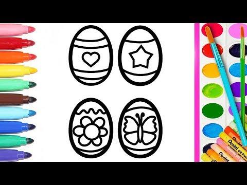 Как рисовать Пасхальные яйца | Рисуем и ракрашиваем яйца | Изучаем цвета | Познавайка ТВ