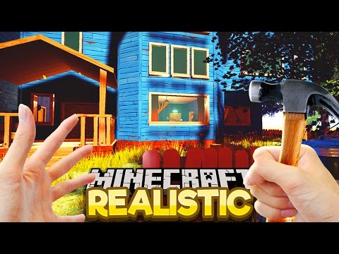 Realistic Minecraft - SNEAKING INTO HELLO NEIGHBOUR'S HOUSE!