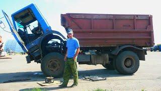 146-Д.Ремонт рулевых тяг на МАЗ-5551.Хмурый день.