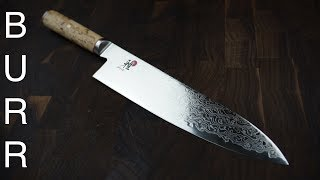Miyabi Birchwood SG2 Gyuto Chef Knife Unbox, Cut Demo, Review