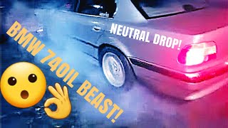 CAMERAMAN gets hurt! BMW 740IL BEAST! NEUTRAL DROP!
