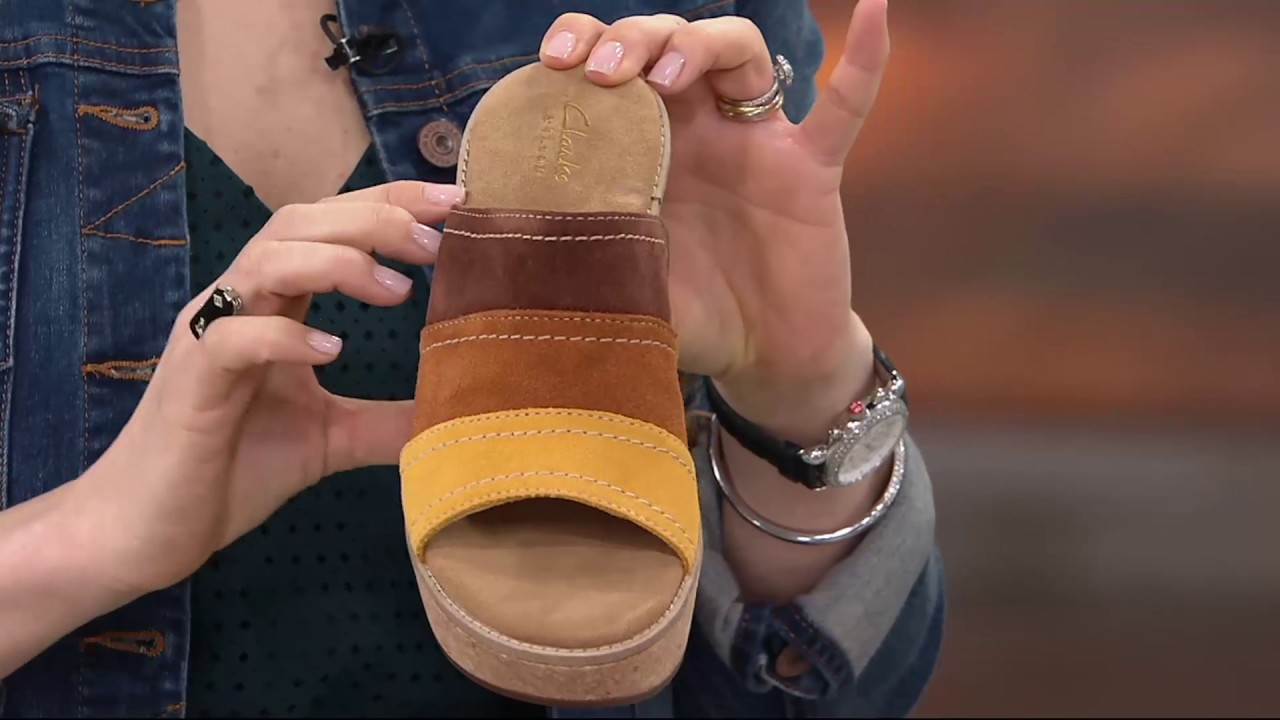 43e211a2a2b Clarks Artisan Nubuck Leather Wedge Sandals - Aisley Lily on QVC ...