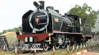 Steam Train in Cambodia,sights and sounds