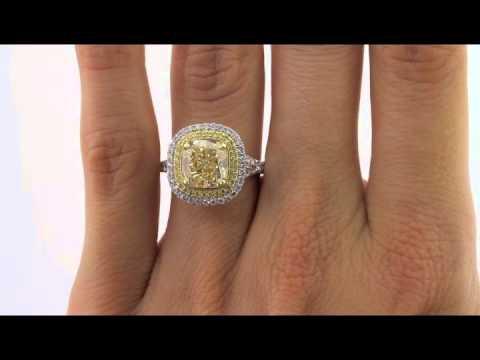 d8d5862828f 4.77ct Cushion Cut Fancy Light Yellow Diamond Engagement Anniversary Ring-Mark  Broumand - YouTube