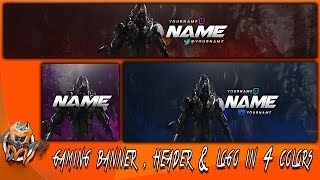 Gaming Banner , Header & Logo in 4 Colors - Photoshop Template