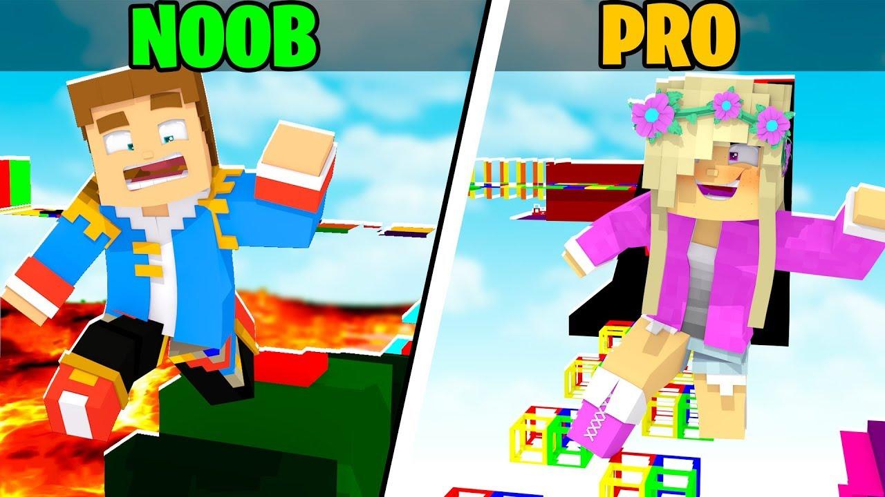 Minecraft Little Leah Plays - Noob vs Pro : Parkour Challenge Girl vs Boy!