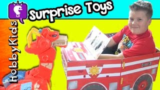 GIANT FIRE TRUCK Surprise! Rescue Bot Transformers HobbyTiger by HobbyKidsTV