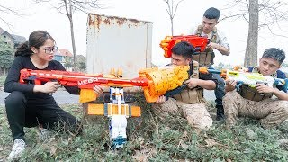 Nerf War Assassin's Creed Warriors S.W.A.T Nerf Guns Criminal Group Escaped Prison House Funny Nerf