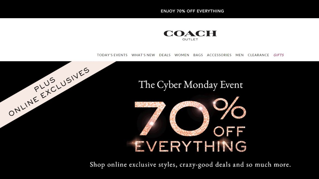 Coach Outlet Cyber Monday Event 70 Off Youtube