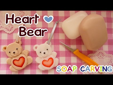 SOAP CARVING | Easy | Heart Bear |Free Template | How To Make | Real Carving Sound | DIY|