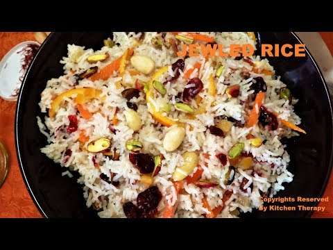 How To Make Persian Jeweled Rice- Zereshk Polow | Kitchen Therapy فارن پلاؤ پرشین  फ़ारसी पुलाओ