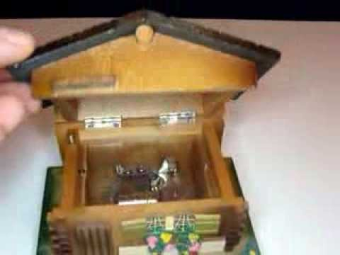 Vintage wood swiss style chalet house music jewelry box for Retro house music
