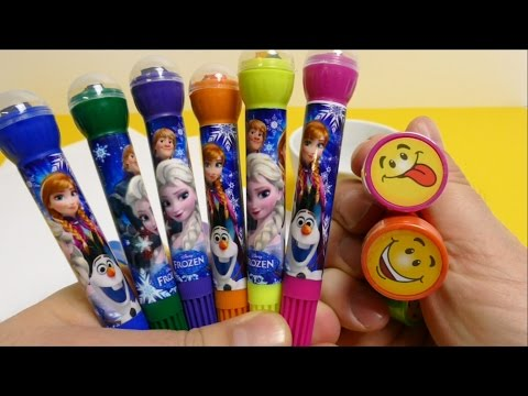 Thumbnail: FROZEN Anna Elsa Olaf Pens with Stamps & Smiley Stamps for School