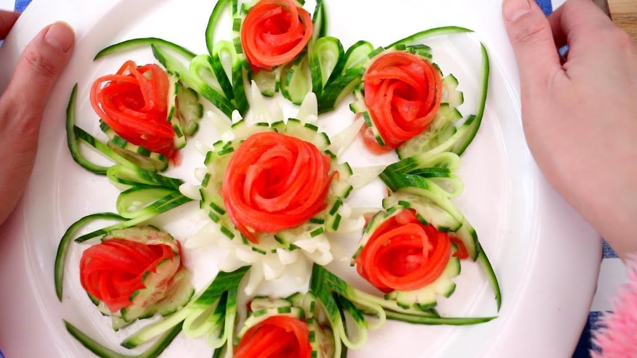 Vegetable Carving With Tomato Tomato Rose Flo...
