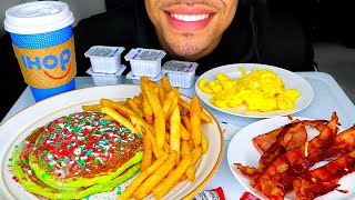 ASMR CHRISTMAS DAY MUKBANG IHOP HOLIDAY BREAKFAST PANCAKES EGGS BACON HAM FRIES EATING NO TALK JERRY