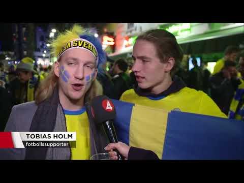Svenska supportrar laddar för kvällens match - Nyheterna (TV4)