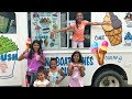 Kids pretend play working in Ice cream truck!! Family FUN Birthday surprise