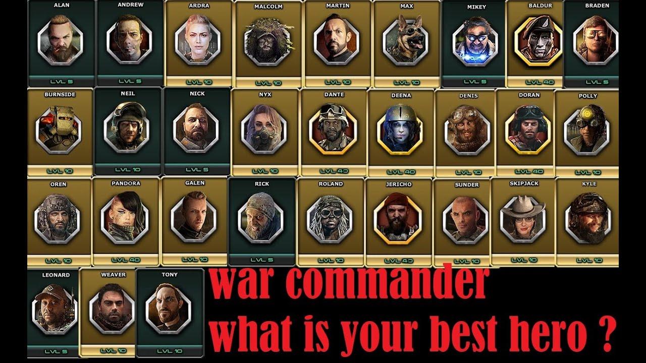 War Commander -What is Best Hero All Test.