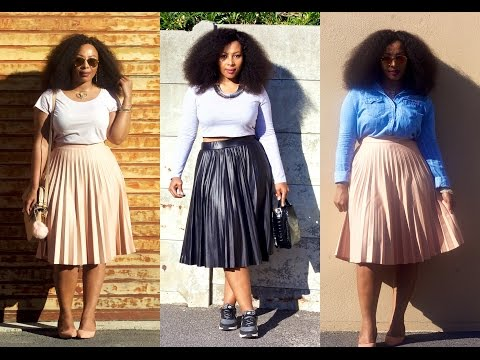 HOW TO STYLE PLEATED SKIRTS 4 WAYS   OUTFIT IDEAS (plus size friendly). http://bit.ly/2KBtGmj