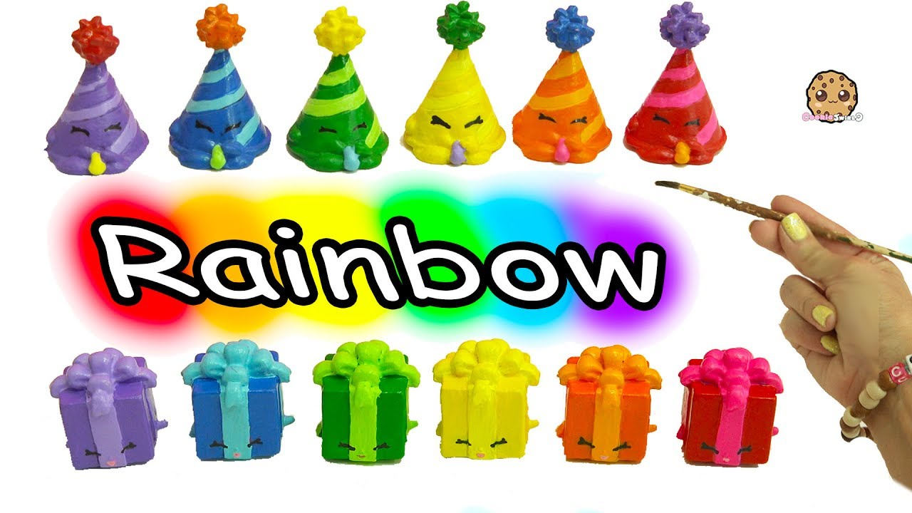 diy painting colorful rainbow color shopkins party hat present
