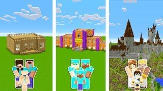 Minecraft Noob Vs Pro Vs God  Family School Building Challenge In Minecraft  Animation