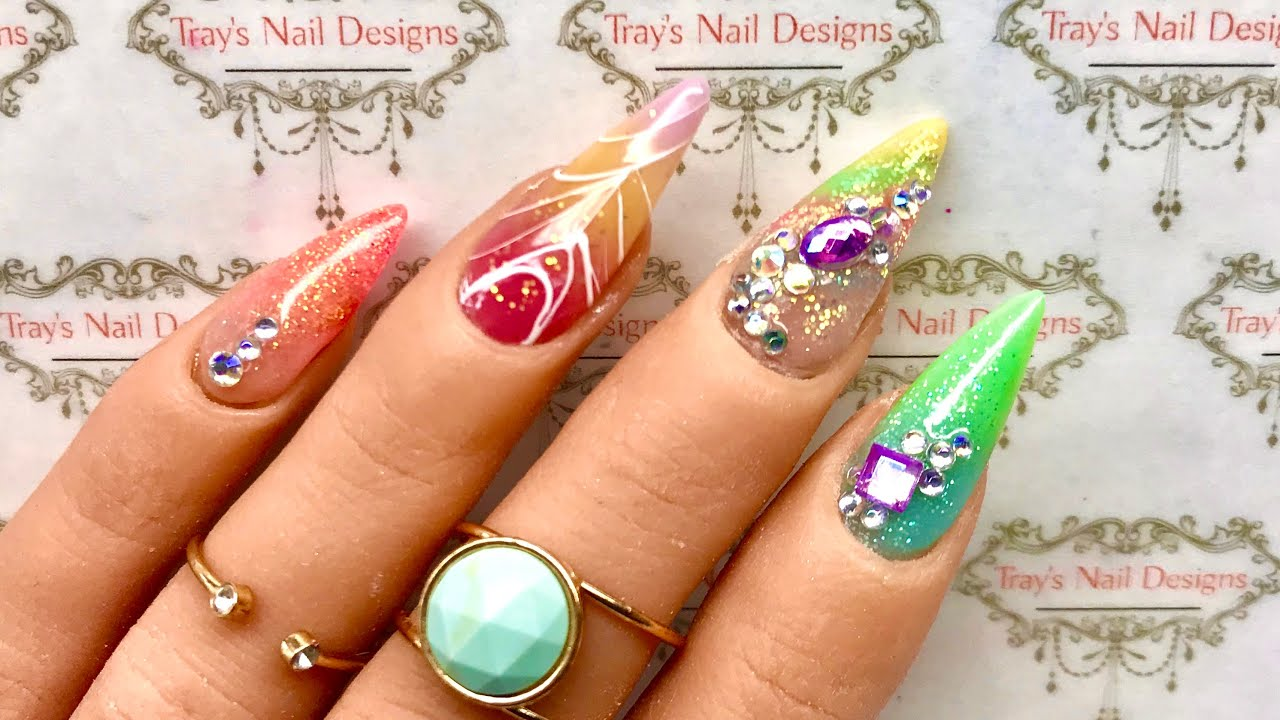 Almond Acrylic Full Set with Bling & Spider Gel Design - Easy Gem Placement Nail Art - Not Polish