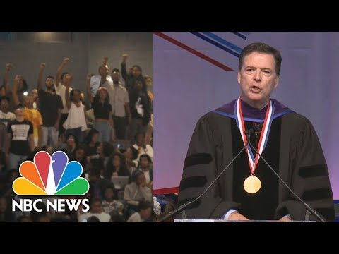 James Comey Listens, Responds As Howard University Protesters Drown Out Speech   NBC News