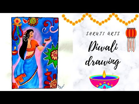 Diwali drawing with poster colour l easy Diwali drawing l Indian women Diwali drawing 🪔 #shrutiarts
