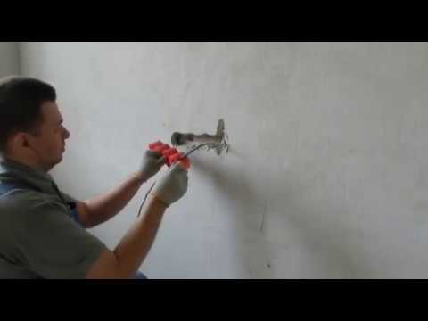 Установка  монтажных коробок в кирпичную стену. Installation of mounting boxes in a brick wall.