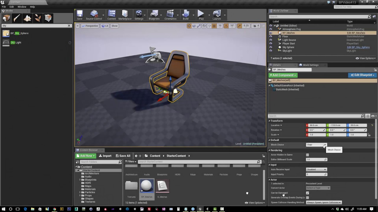 Ue4 creating blueprint meshes youtube ue4 creating blueprint meshes malvernweather Choice Image