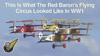 The very rare sight of seven full-size WW1 Fokker Dr.1 Triplanes re...