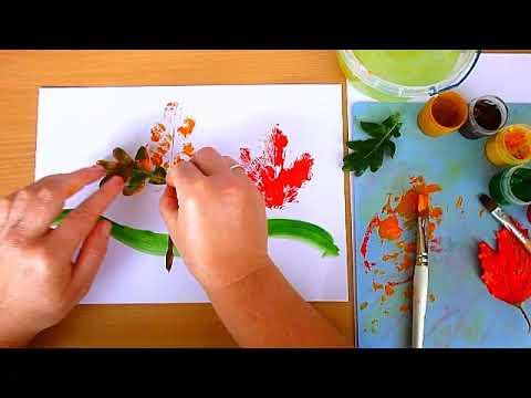 1 клас. Мистецтво. Малюємо осінні дерева за допомогою відбитків листочків
