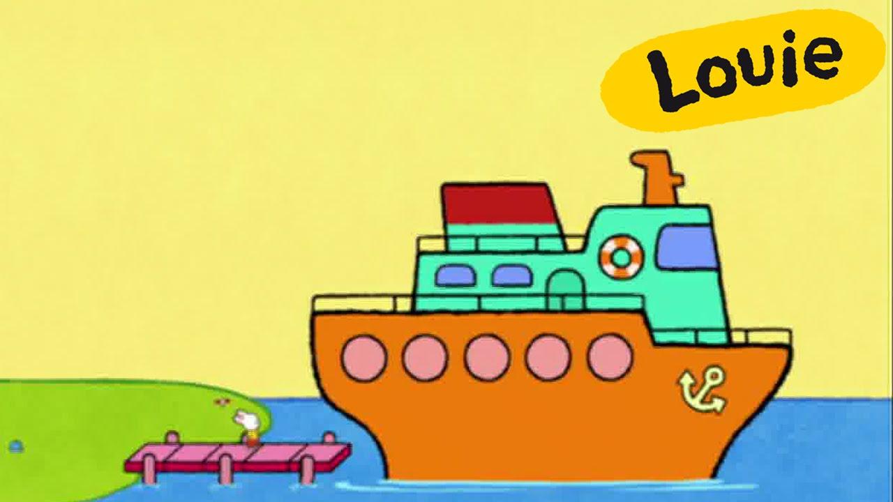 Buque Louie Dibujame Un Buque Gran Barco Dibujos Animados Para